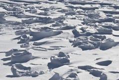 Sporen op sneeuw Stock Foto's