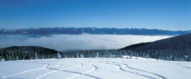 Sporen in sneeuw royalty-vrije stock afbeeldingen