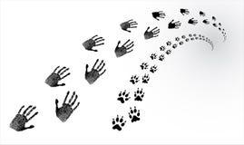 Sporen van menselijk en dierlijk Stock Afbeeldingen