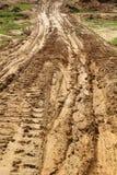 Sporen van modderbanden Stock Afbeelding