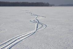 Sporen van skis Royalty-vrije Stock Foto