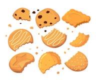 Sporen van steken op de koekjes en verschillende kleine crumbs Reeks van de beeldverhaal de vectorillustratie vector illustratie