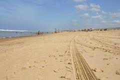 Sporen in zand Royalty-vrije Stock Afbeelding