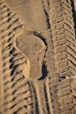 Sporenauto en voetafdruk Stock Foto