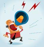 Sporgenza arrabbiata con il megafono Fotografia Stock Libera da Diritti