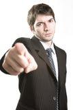 Sporgenza arrabbiata o indicare furioso dell'uomo di affari Fotografie Stock Libere da Diritti
