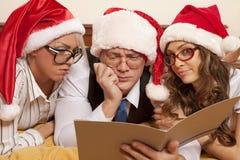 Sporgenza con i secretaris sul nuovo anno Immagini Stock