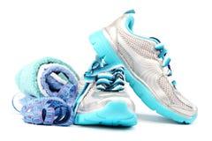 Sportów buty, wyposażenie i pomiarowa taśma, Zdjęcie Royalty Free