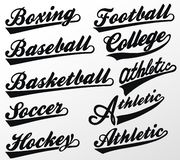 Sportów Swooshes ustawiający dla Sportowej typografii koszulki wektor royalty ilustracja
