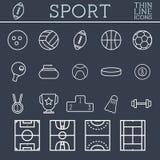 Sportöversiktssymboler, moderiktig tunn linje design, blått stock illustrationer