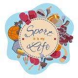 Sport è la mia vita Insieme di vettore degli oggetti Immagini Stock Libere da Diritti