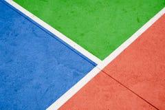 Sport śródpolnych linii zbliżenie - białe linie na kolorowym betonowym flo obraz stock