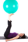 Sport. Young woman with a ball seat stock photos