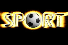 Sport. The design word of football sport on the black background Royalty Free Stock Photo