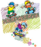 Sport. Skateboard, sports-themed design for sports clothing for children Stock Photos