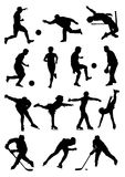 Sport. Silhouettes of the miscellaneous athlete in speaker Royalty Free Stock Image