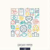 Sport abstract background, integrated thin line symbols. Stock Image