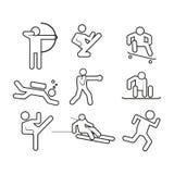 Sport-abstrakter Entwurfs-Symbol-Vektor-Illustrations-Grafik-Satz Lizenzfreies Stockfoto