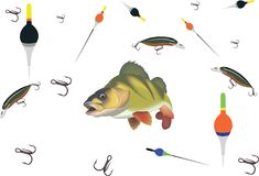 Sport accessories fishing tackle bass perch stock illustration