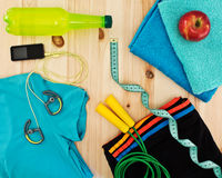 Sport accessories for fitness classes. Necessary sport accessories for fitness classes royalty free stock images