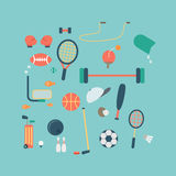 Sport accessories icon on blue background. Vector Stock Photo