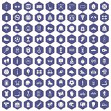 100 sport accessories icons hexagon purple. 100 sport accessories icons set in purple hexagon isolated vector illustration Stock Image