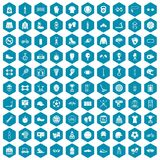 100 sport accessories icons sapphirine violet. 100 sport accessories icons set in sapphirine hexagon isolated vector illustration Stock Photography