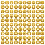 100 sport accessories icons set gold. 100 sport accessories icons set in gold circle isolated on white vectr illustration Stock Images