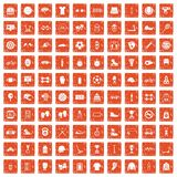 100 sport accessories icons set grunge orange. 100 sport accessories icons set in grunge style orange color isolated on white background vector illustration Stock Photo