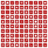 100 sport accessories icons set grunge red. 100 sport accessories icons set in grunge style red color isolated on white background vector illustration Stock Photo