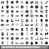 100 sport accessories icons set, simple style. 100 sport accessories icons set in simple style for any design vector illustration Royalty Free Stock Photos