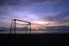 Sport accessory at sunset. Soccer goalpost during sunset in Malaysia Royalty Free Stock Photography