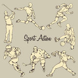 Sport Action Vintage Drawing Style Stock Images