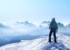 Sport and active life concept. Climber on the mountain peak. Sport and active life concept Royalty Free Stock Photo