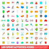 100 sport activities icons set, cartoon style Royalty Free Stock Image