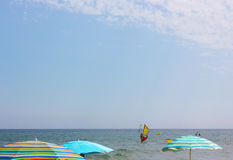 Sport activities at Mediterranean Sea, Spain. Royalty Free Stock Photography