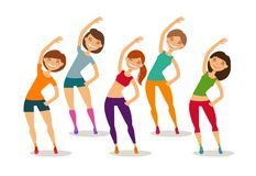 Sport, aerobics, healthy lifestyle concept. Group of people engaged fitness in gym. Funny cartoon vector illustration. Sport, aerobics concept. Group of people stock illustration