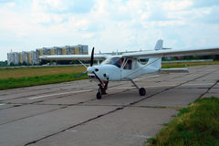 Sport aircraft on the runway stock photography