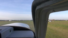 Sport aircraft start to flight on airfield Stock Photography