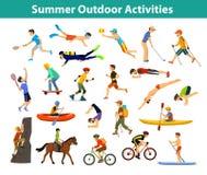 Sport all'aperto ed attività di estate royalty illustrazione gratis