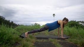 Sport all'aperto Esercizio della plancia di addestramento della donna stock footage