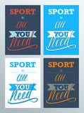 Sport is all you need. Lettering sign, typography, t-shirt graphics on color background. Stock Images