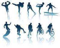 Sport & siluette di forma fisica Immagini Stock Libere da Diritti