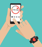 Sport app on the screen smartphone and smartwatch. Flat  illustration Royalty Free Stock Image