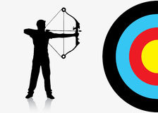 Sport archer background. Vector illustration of archer and target Stock Photography