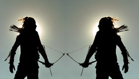 Sport of archery & Archer silhouette Royalty Free Stock Images
