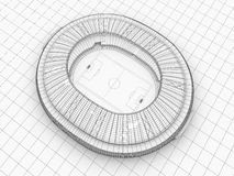 Sport arena. 3d illustration in wireframe view Royalty Free Stock Image