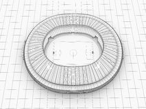Sport arena. 3d illustration in wireframe view Stock Image