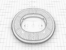 Sport arena. 3d illustration in wireframe view Stock Photo