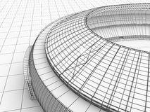 Sport arena. 3d illustration in wireframe view Royalty Free Stock Photos
